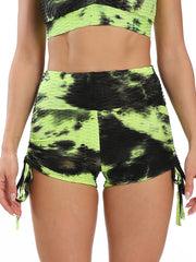 Color=Yellow | Sexy High Waist Tie-Dye Shorts For Yoga Workout-Yellow 1