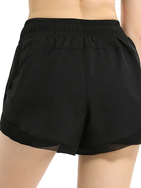 Color=Black | Women'S Loose Elastic Waist Quick-Drying Sports Shorts-Black 2