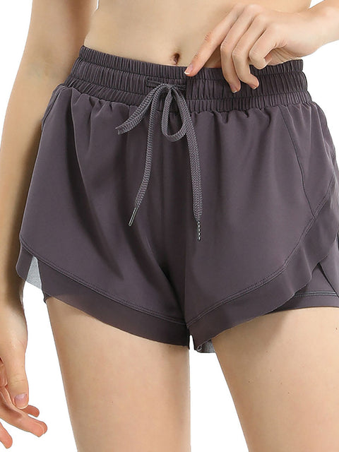 Color=Purple | Women'S Loose Elastic Waist Quick-Drying Sports Shorts-Purple 1