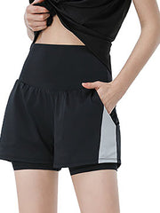 Color=Black | Casual High Waist Double-Layer Sports Shorts With Pockets-Black 2