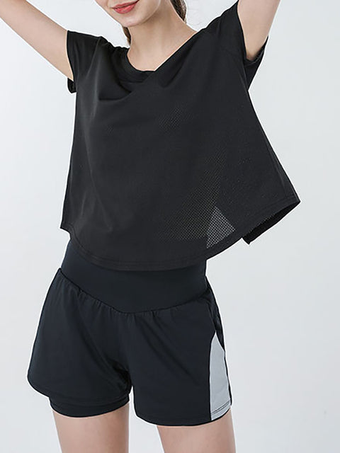 Color=Black | Casual High Waist Double-Layer Sports Shorts With Pockets-Black 1