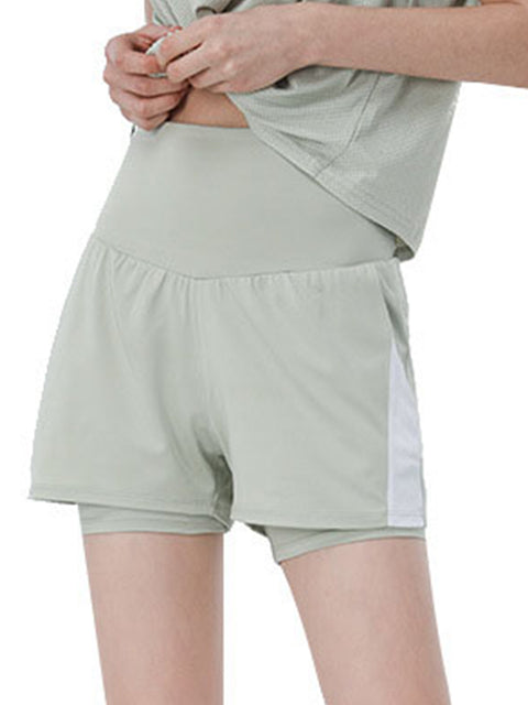 Color=Green Bean | Casual High Waist Double-Layer Sports Shorts With Pockets-Green Bean 1