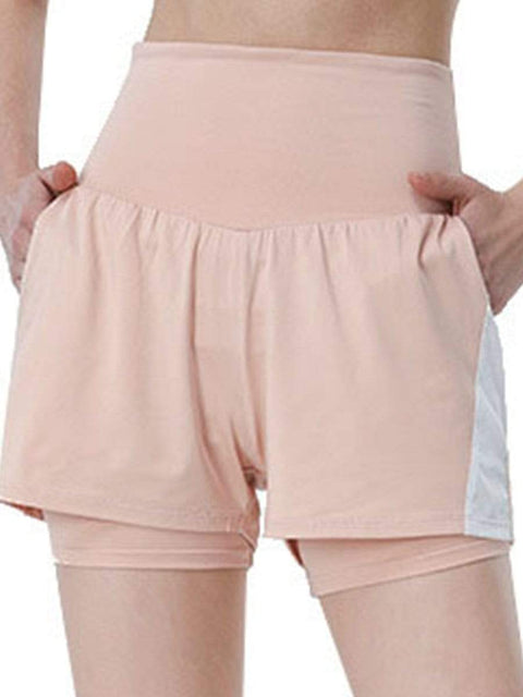 Color=Pink | Casual High Waist Double-Layer Sports Shorts With Pockets-Pink 1