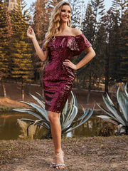 Color=Burgundy | Shinning Bodycon Off-Shoulder Above Knee Evening Dress 00106-Burgundy 3