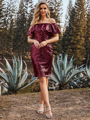 Color=Burgundy | Shinning Bodycon Off-Shoulder Above Knee Evening Dress 00106-Burgundy 1