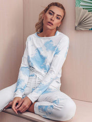 Color=Sky Blue | Feminine Tie-Dye Loungewear Track Suit For Sports-Sky Blue 6