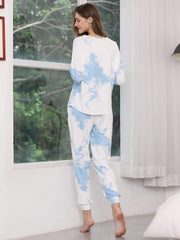 Color=Sky Blue | Feminine Tie-Dye Loungewear Track Suit For Sports-Sky Blue 2