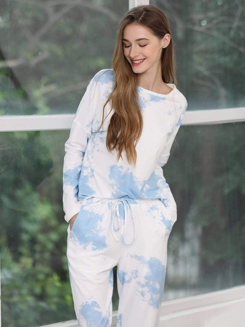 Color=Sky Blue | Feminine Tie-Dye Loungewear Track Suit For Sports-Sky Blue 3