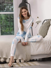 Color=Sky Blue | Feminine Tie-Dye Loungewear Track Suit For Sports-Sky Blue 4