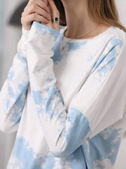 Color=Sky Blue | Feminine Tie-Dye Loungewear Track Suit For Sports-Sky Blue 5