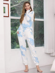 Color=Sky Blue | Feminine Tie-Dye Loungewear Track Suit For Sports-Sky Blue 1