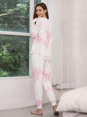 Color=Pink | Feminine Tie-Dye Loungewear Track Suit For Sports-Pink 4