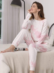 Color=Pink | Feminine Tie-Dye Loungewear Track Suit For Sports-Pink 5