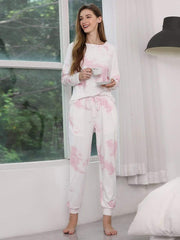 Color=Pink | Feminine Tie-Dye Loungewear Track Suit For Sports-Pink 6