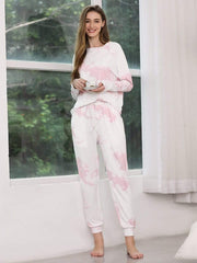 Color=Pink | Feminine Tie-Dye Loungewear Track Suit For Sports-Pink 3