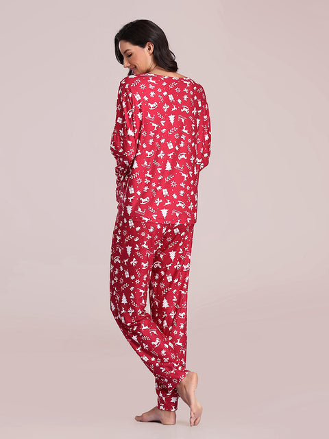 Color=Red | Women's Cute Long Sleeve Printed Loungewear with Shorts-Red 3