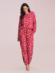 Color=Red | Women's Cute Long Sleeve Printed Loungewear with Shorts-Red 2