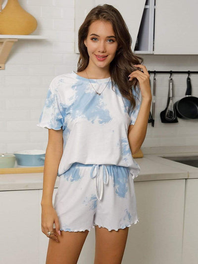 Comfy Casual Tie-dye Short Sleeve Pajamas Suit for Women
