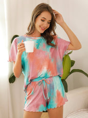 Color=Green | Casual Round Neck Tie-dye Loungewear Set Pajamas-Green 1