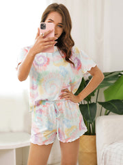 Color=Multicolor | Comfy Casual Tie-dye Short Sleeve Pajamas Suit for Women-Multicolor 3