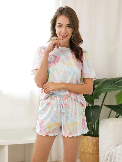 Color=Multicolor | Comfy Casual Tie-dye Short Sleeve Pajamas Suit for Women-Multicolor 1