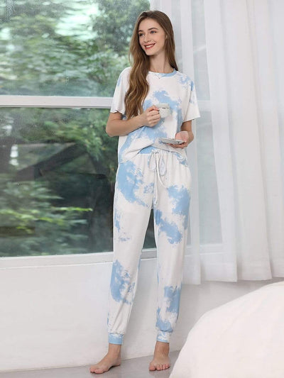 Color=Sky Blue | Women'S Casual Tie-Dye Track Suit For Women-Sky Blue 1