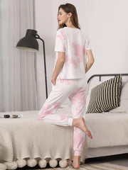 Color=Pink | Women'S Casual Tie-Dye Track Suit For Women-Pink 2