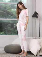 Color=Pink | Women'S Casual Tie-Dye Track Suit For Women-Pink 3
