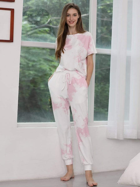 Color=Pink | Women'S Casual Tie-Dye Track Suit For Women-Pink 4