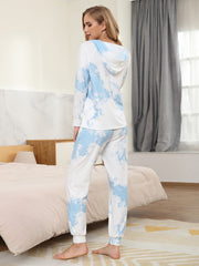 Color=Sky Blue | Women'S Elegant Tie-Dye Hoodies & Pants Pajama Sets-Sky Blue 2