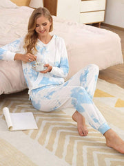 Color=Sky Blue | Women'S Elegant Tie-Dye Hoodies & Pants Pajama Sets-Sky Blue 1