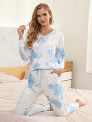 Color=Sky Blue | Women'S Elegant Tie-Dye Hoodies & Pants Pajama Sets-Sky Blue 3