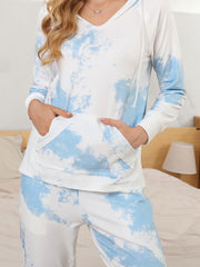 Color=Sky Blue | Women'S Elegant Tie-Dye Hoodies & Pants Pajama Sets-Sky Blue 5