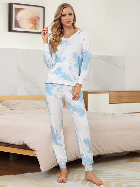 Color=Sky Blue | Women'S Elegant Tie-Dye Hoodies & Pants Pajama Sets-Sky Blue 4