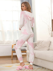 Color=Pink | Women'S Elegant Tie-Dye Hoodies & Pants Pajama Sets-Pink 2