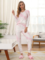 Color=Pink | Women'S Elegant Tie-Dye Hoodies & Pants Pajama Sets-Pink 3