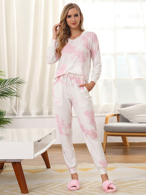 Color=Pink | Women'S Elegant Tie-Dye Hoodies & Pants Pajama Sets-Pink 4