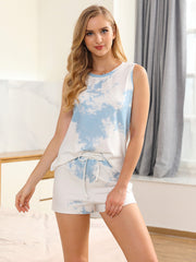 Color=Sky Blue | Fashion Tie-Dye Vest & Shorts Pajamas Sets For Women-Sky Blue 4