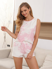Color=Pink | Fashion Tie-Dye Vest & Shorts Pajamas Sets For Women-Pink 3