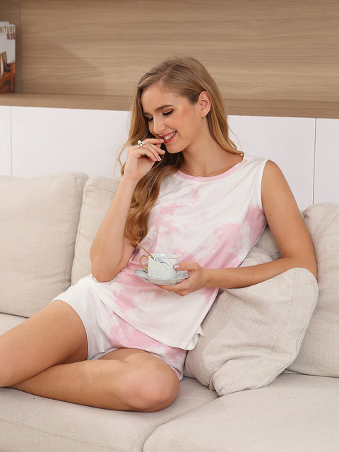 Color=Pink | Fashion Tie-Dye Vest & Shorts Pajamas Sets For Women-Pink 4