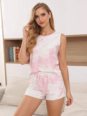 Color=Pink | Fashion Tie-Dye Vest & Shorts Pajamas Sets For Women-Pink 1