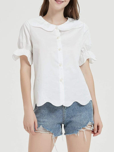 Color=White | Cute Round Neck White Blouses For Women With Puff Sleeves-White 1