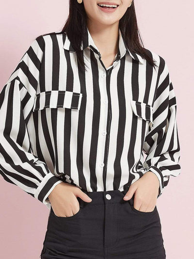 Color=Black | Women'S Casual Striped Blouse With Full-Length Sleeves-Black 1