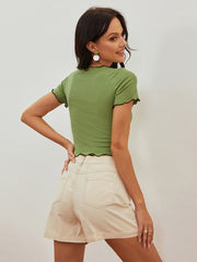 Color=Green | Women'S Sexy Short Sleeves Crop Top With Front Cross Design-Green 2