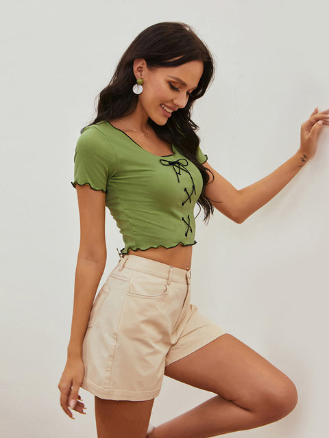 Color=Green | Women'S Sexy Short Sleeves Crop Top With Front Cross Design-Green 3