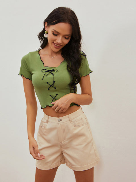 Color=Green | Women'S Sexy Short Sleeves Crop Top With Front Cross Design-Green 4