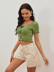 Color=Green | Women'S Sexy Short Sleeves Crop Top With Front Cross Design-Green 1