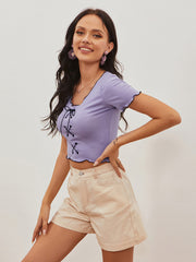Color=Purple | Women'S Sexy Short Sleeves Crop Top With Front Cross Design-Purple 3