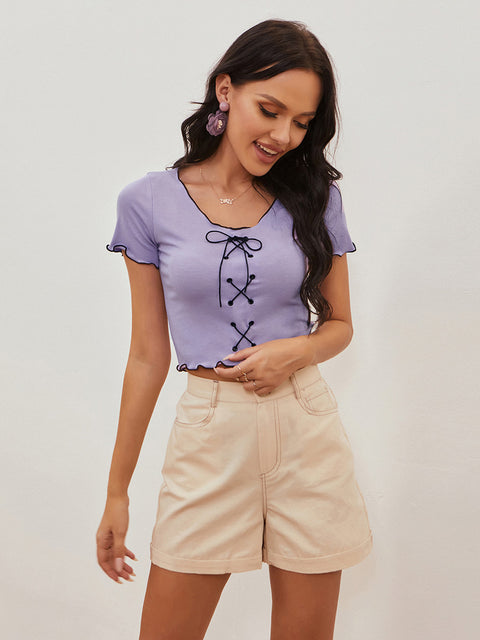Color=Purple | Women'S Sexy Short Sleeves Crop Top With Front Cross Design-Purple 4