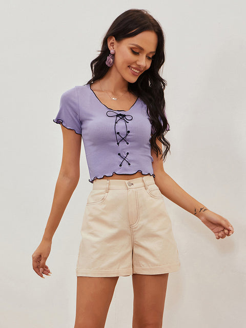Color=Purple | Women'S Sexy Short Sleeves Crop Top With Front Cross Design-Purple 1